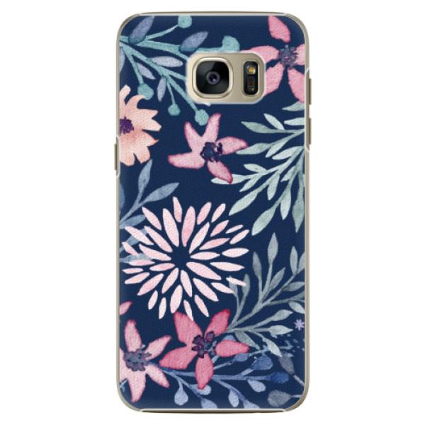 Plastové pouzdro iSaprio Leaves on Blue na mobil Samsung Galaxy S7 Edge (Plastový obal, kryt, pouzdro iSaprio Leaves on Blue na mobilní telefon Samsung Galaxy S7 Edge)