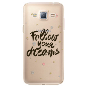 Plastové pouzdro iSaprio Follow Your Dreams black na mobil Samsung Galaxy J3 2016