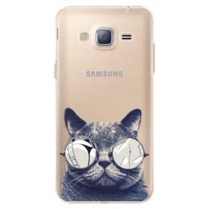 Plastové pouzdro iSaprio Crazy Cat 01 na mobil Samsung Galaxy J3 2016