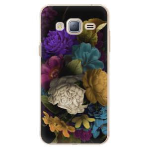 Plastové pouzdro iSaprio Dark Flowers na mobil Samsung Galaxy J3 2016