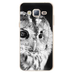 Plastové pouzdro iSaprio BW Owl na mobil Samsung Galaxy J3 2016