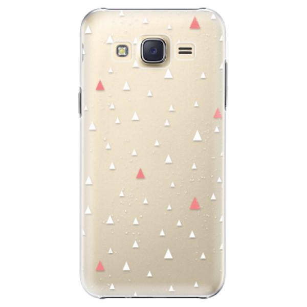 Plastové pouzdro iSaprio Abstract Triangles 02 white na mobil Samsung Galaxy J5 (Plastový obal, kryt, pouzdro iSaprio Abstract Triangles 02 white na mobilní telefon Samsung Galaxy J5)