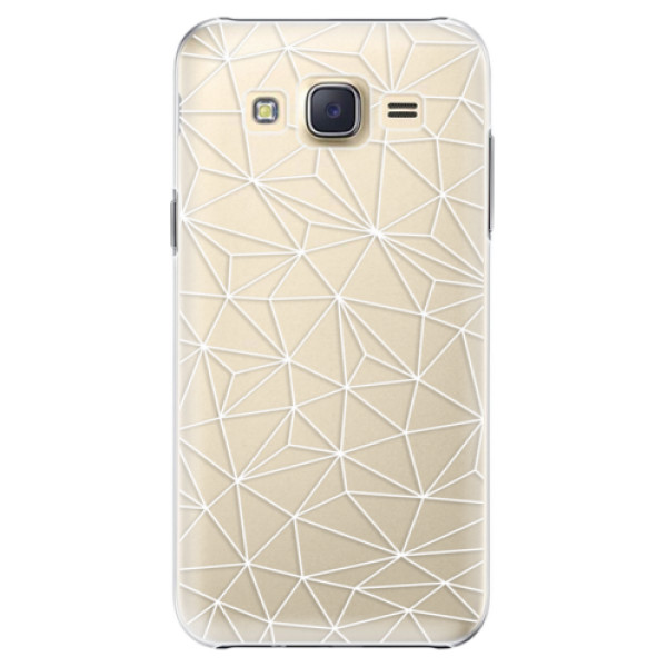 Plastové pouzdro iSaprio Abstract Triangles 03 white na mobil Samsung Galaxy J5 (Plastový obal, kryt, pouzdro iSaprio Abstract Triangles 03 white na mobilní telefon Samsung Galaxy J5)