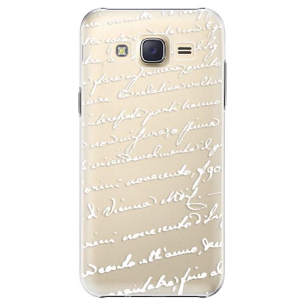 Plastové pouzdro iSaprio Handwriting 01 white na mobil Samsung Galaxy J5 (Plastový obal, kryt, pouzdro iSaprio Handwriting 01 white na mobilní telefon Samsung Galaxy J5)