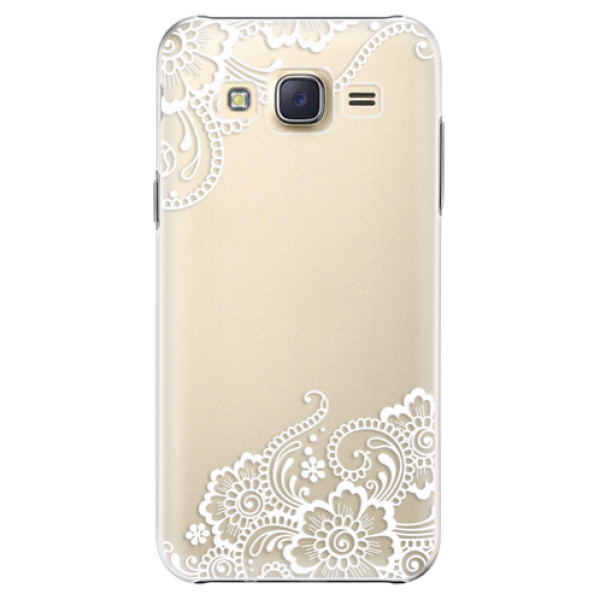 Plastové pouzdro iSaprio white Lace 02 na mobil Samsung Galaxy J5 (Plastový obal, kryt, pouzdro iSaprio white Lace 02 na mobilní telefon Samsung Galaxy J5)