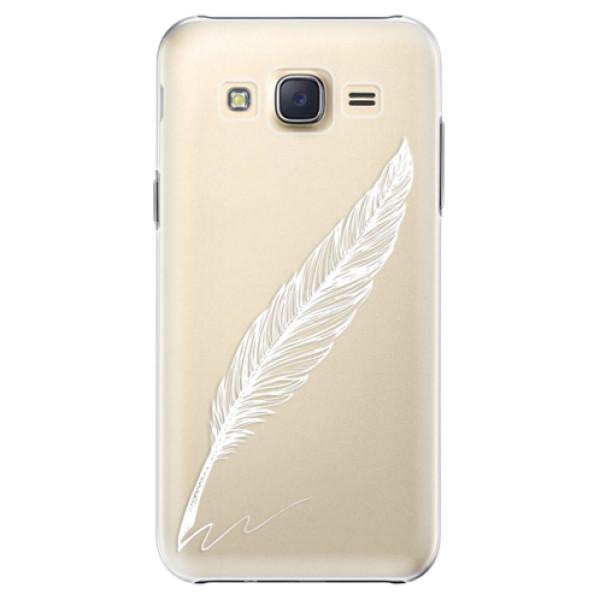 Plastové pouzdro iSaprio Writing By Feather white na mobil Samsung Galaxy J5 (Plastový obal, kryt, pouzdro iSaprio Writing By Feather white na mobilní telefon Samsung Galaxy J5)