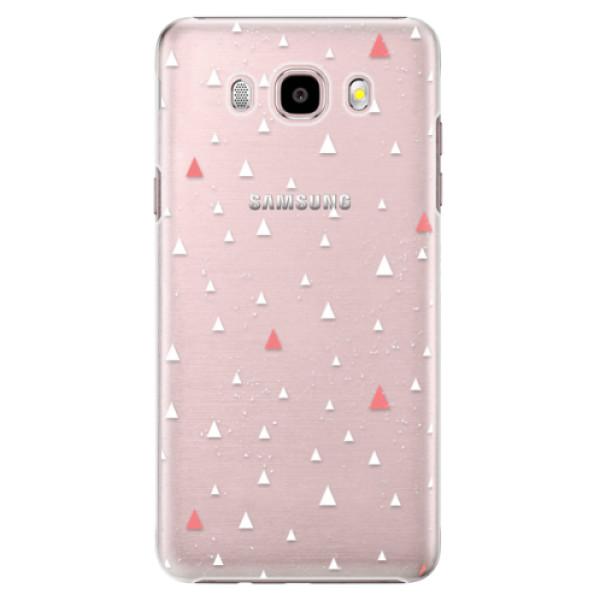 Plastové pouzdro iSaprio Abstract Triangles 02 white na mobil Samsung Galaxy J5 2016 (Plastový obal, kryt, pouzdro iSaprio Abstract Triangles 02 white na mobilní telefon Samsung Galaxy J5 2016)