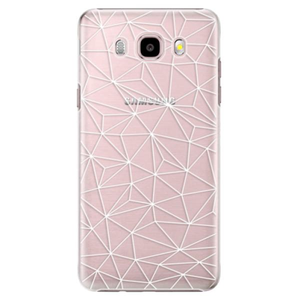 Plastové pouzdro iSaprio Abstract Triangles 03 white na mobil Samsung Galaxy J5 2016 (Plastový obal, kryt, pouzdro iSaprio Abstract Triangles 03 white na mobilní telefon Samsung Galaxy J5 2016)