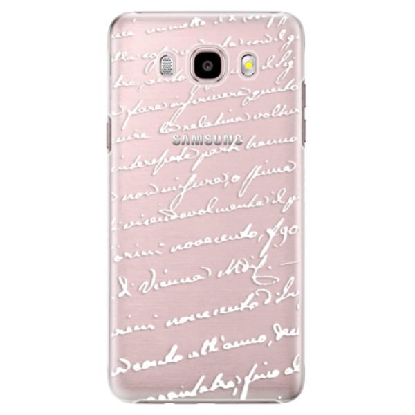 Plastové pouzdro iSaprio Handwriting 01 white na mobil Samsung Galaxy J5 2016 (Plastový obal, kryt, pouzdro iSaprio Handwriting 01 white na mobilní telefon Samsung Galaxy J5 2016)