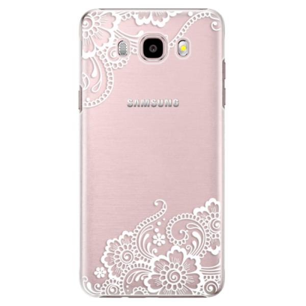 Plastové pouzdro iSaprio white Lace 02 na mobil Samsung Galaxy J5 2016 (Plastový obal, kryt, pouzdro iSaprio white Lace 02 na mobilní telefon Samsung Galaxy J5 2016)