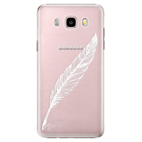 Plastové pouzdro iSaprio Writing By Feather white na mobil Samsung Galaxy J5 2016 (Plastový obal, kryt, pouzdro iSaprio Writing By Feather white na mobilní telefon Samsung Galaxy J5 2016)