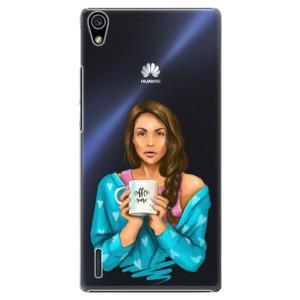 Plastové pouzdro iSaprio Coffe Now Brunette na mobil Huawei P7