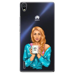 Plastové pouzdro iSaprio Coffe Now Redhead na mobil Huawei P7