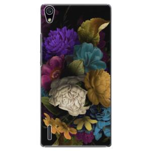 Plastové pouzdro iSaprio Dark Flowers na mobil Huawei P7