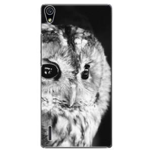 Plastové pouzdro iSaprio BW Owl na mobil Huawei P7