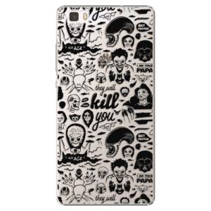 Plastové pouzdro iSaprio Comics 01 black na mobil Huawei P8 Lite
