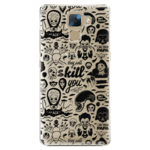 Plastové pouzdro iSaprio Comics 01 black na mobil Huawei Honor 7