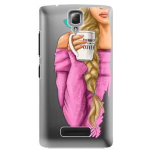 Plastové pouzdro iSaprio My Coffe and Blond Girl na mobil Lenovo A2010