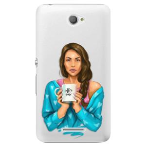 Plastové pouzdro iSaprio Coffe Now Brunette na mobil Sony Xperia E4