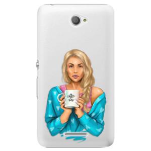 Plastové pouzdro iSaprio Coffe Now Blond na mobil Sony Xperia E4