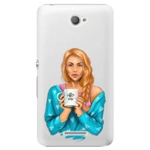 Plastové pouzdro iSaprio Coffe Now Redhead na mobil Sony Xperia E4