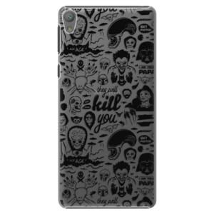 Plastové pouzdro iSaprio Comics 01 black na mobil Sony Xperia E5
