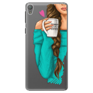 Plastové pouzdro iSaprio My Coffe and Brunette Girl na mobil Sony Xperia E5