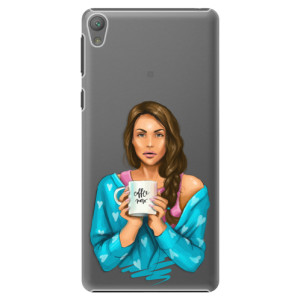 Plastové pouzdro iSaprio Coffe Now Brunette na mobil Sony Xperia E5