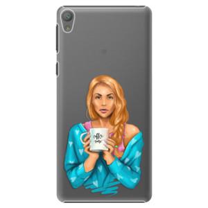 Plastové pouzdro iSaprio Coffe Now Redhead na mobil Sony Xperia E5