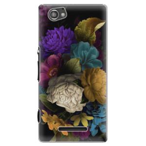 Plastové pouzdro iSaprio Dark Flowers na mobil Sony Xperia M