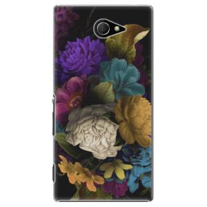 Plastové pouzdro iSaprio Dark Flowers na mobil Sony Xperia M2