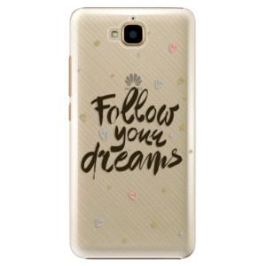 Plastové pouzdro iSaprio Follow Your Dreams černý na mobil Huawei Y6 Pro