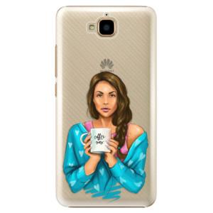 Plastové pouzdro iSaprio Coffee Now Brunetka na mobil Huawei Y6 Pro
