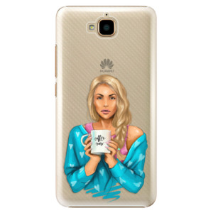 Plastové pouzdro iSaprio Coffee Now Blondýna na mobil Huawei Y6 Pro