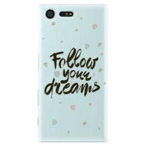 Plastové pouzdro iSaprio Follow Your Dreams černý na mobil Sony Xperia X Compact