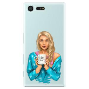Plastové pouzdro iSaprio Coffee Now Blondýna na mobil Sony Xperia X Compact