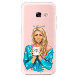 Plastové pouzdro iSaprio Coffee Now Blondýna na mobil Samsung Galaxy A3 2017