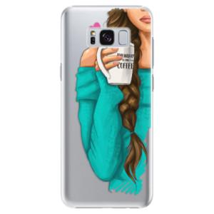 Plastové pouzdro iSaprio Brunetka s kafčem na mobil Samsung Galaxy S8 Plus