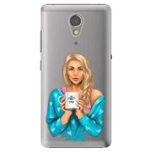 Plastové pouzdro iSaprio Coffee Now Blondýna na mobil Lenovo P2