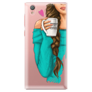 Plastové pouzdro iSaprio Brunetka s kafčem na mobil Sony Xperia L1