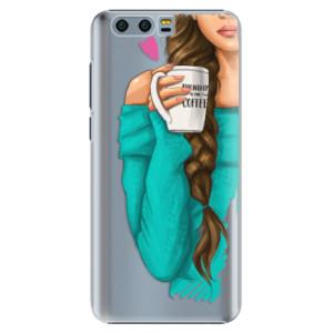 Plastové pouzdro iSaprio Brunetka s kafčem na mobil Honor 9