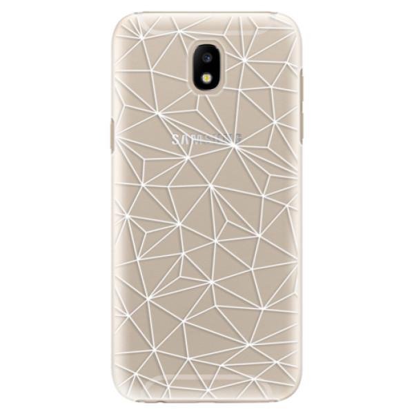 Plastové pouzdro iSaprio Abstract Triangles 03 white na mobil Samsung Galaxy J5 2017 (Plastový kryt, obal, pouzdro iSaprio Abstract Triangles 03 white na mobilní telefon Samsung Galaxy J5 2017)