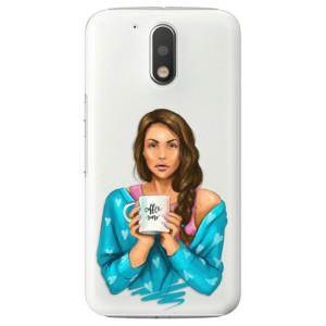 Plastové pouzdro iSaprio Coffee Now Brunetka na mobil Lenovo Moto G4 / G4 Plus