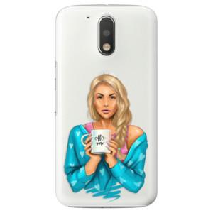 Plastové pouzdro iSaprio Coffee Now Blondýna na mobil Lenovo Moto G4 / G4 Plus