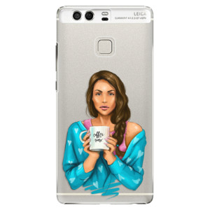 Plastové pouzdro iSaprio Coffee Now Brunetka na mobil Huawei P9