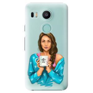 Plastové pouzdro iSaprio Coffee Now Brunetka na mobil LG Nexus 5X