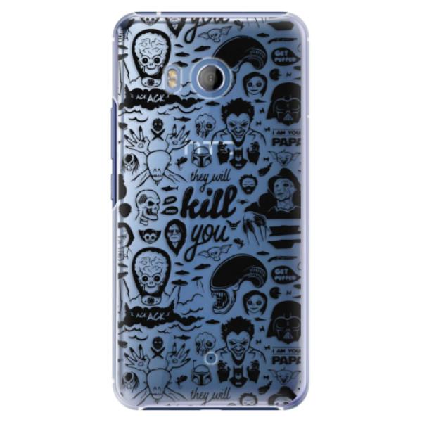 Plastové pouzdro iSaprio Komiks 01 black na mobil HTC U11 (Plastový kryt, obal, pouzdro iSaprio Komiks 01 black na mobilní telefon HTC U11)