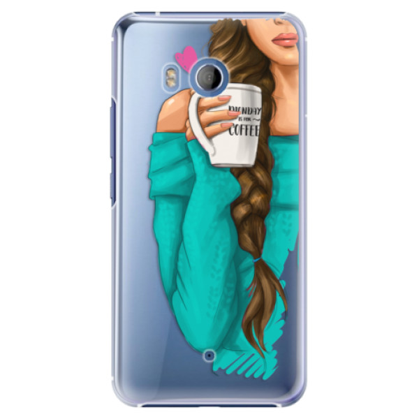 Plastové pouzdro iSaprio Brunetka s kafčem na mobil HTC U11 (Plastový kryt, obal, pouzdro iSaprio Brunetka s kafčem na mobilní telefon HTC U11)