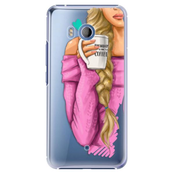 Plastové pouzdro iSaprio Blondýnka s kafčem na mobil HTC U11 (Plastový kryt, obal, pouzdro iSaprio Blondýnka s kafčem na mobilní telefon HTC U11)