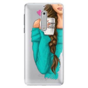 Plastové pouzdro iSaprio Brunetka s kafčem na mobil Nokia 5